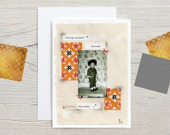 """Greeting Card, Original Art, Colourful Poetry, Vintage Photographs, 5"""" X 7"""", Blank Inside"""