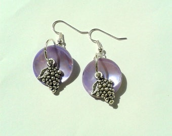 Fruity Stud Earrings with purple grapes