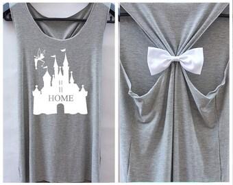 Home Tinkerbell Disney Princess . disney shirt.adorable tank top.Bachelorette party tank.Racer back tank top.cute tank top.bow tank top