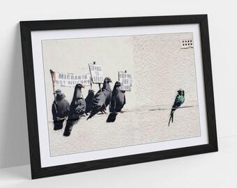 Banksy Racist Pigeons, Graffiti Street Artwork Framed Picture Poster - Wall Art Print Home Decor - 4 size options