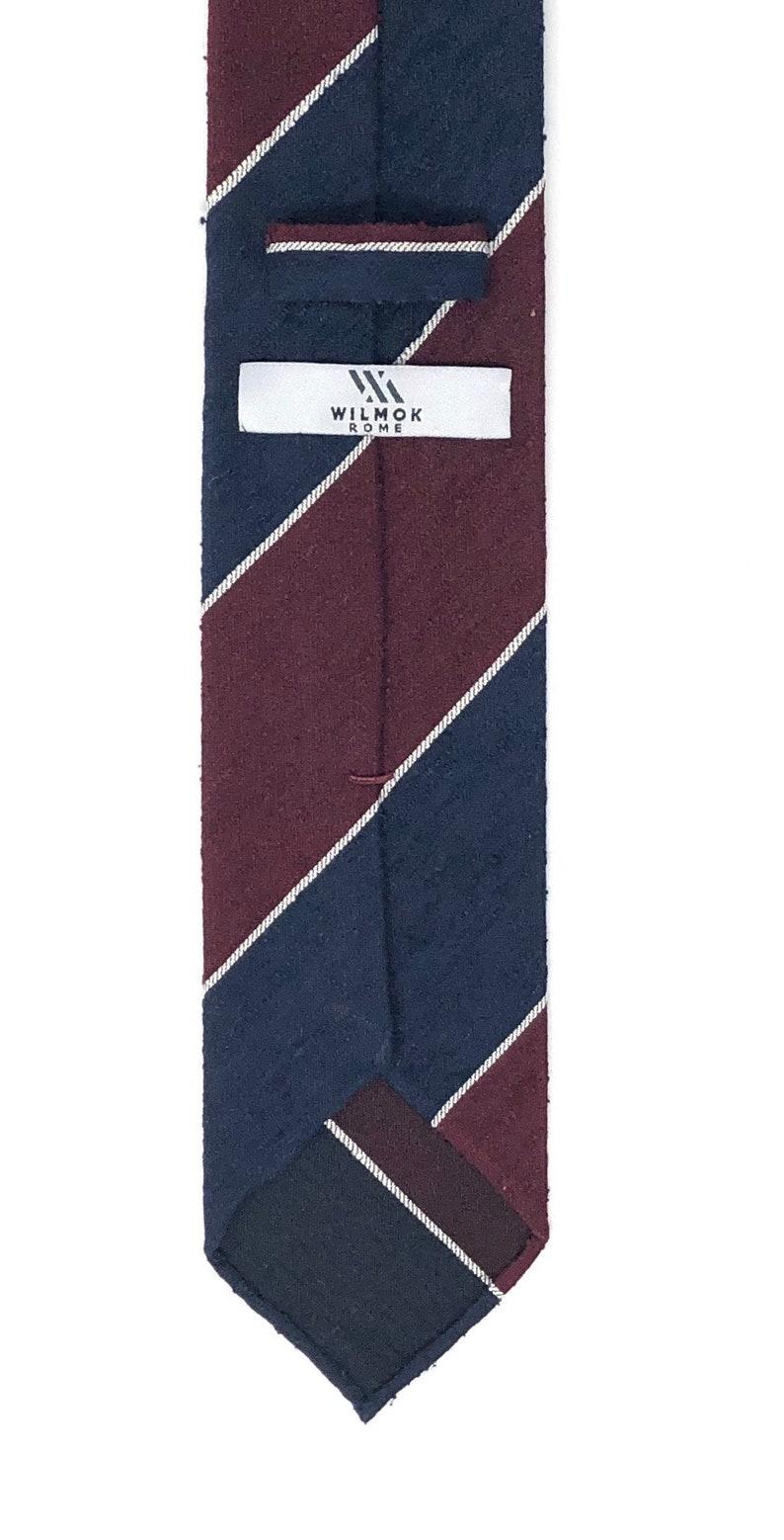 Shantung Untipped Block Striped Navy Maroon Tie