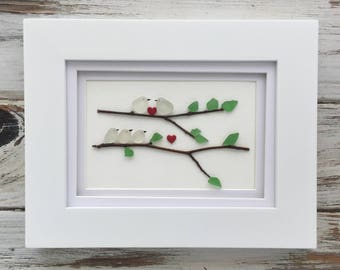 Sea glass Art - Seaglass Bird Family on Branch Picture