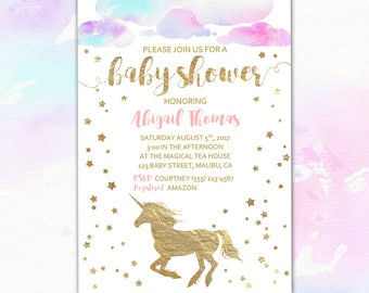 """Unicorn Baby Shower Invitation & Thank You Card, Editable/Printable Unicorn Shower Invite, 5x7"""" Flat Double Sided PDF INSTANT DOWNLOAD"""