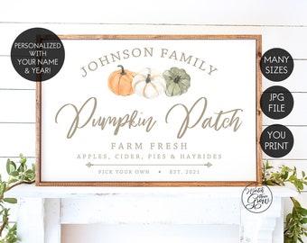 Personalized Pumpkin Patch Sign, Printable Fall Sign, Custom Fall Sign, Modern Farmhouse Sign, Neutral Fall Farmhouse Decor, YOU PRINT