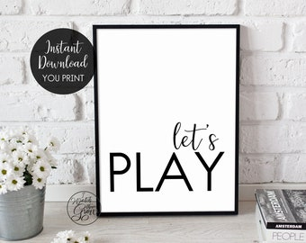 """Playroom Wall Art, Printable """"Let's Play"""" Modern Kid's Art Print, Farmhouse Playroom Sign, Many Print Sizes Included, Jpg INSTANT DOWNLOAD"""