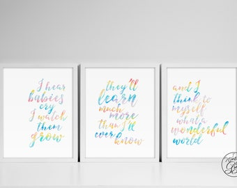 "Rainbow Watercolor ""What A Wonderful World"" Nursery Wall Art, Printable Set of 3 Art, Rainbow Baby Nursery, 8x10 & 11x14 INSTANT DOWNLOAD"