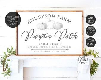 Personalized Pumpkin Patch Sign, Printable Fall Sign, Custom Family Farm Sign, Modern Farmhouse Sign, Fall Farmhouse Decor, YOU PRINT