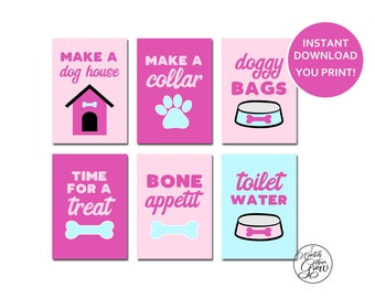 Puppy Party Signs, Printable Puppy Party Table Signs, Puppy Party Decorations, Pink Puppy Dog Party Decor, Girl Puppy Party INSTANT DOWNLOAD
