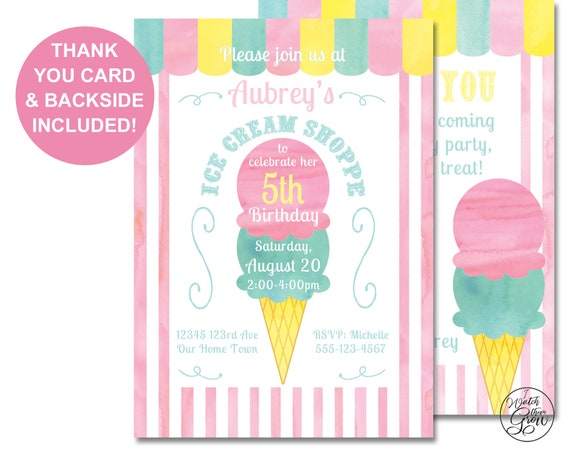 Ice Cream Party Invitation And Thank You Card Printable Ice Cream Invites Ice Cream Shoppe Social Parlor 4x6 Or 5x7 Inch Jpg Or Pdf