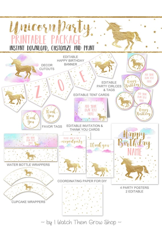 Unicorn Party Printables Package Watercolor Decorations Birthday Decor Editable INSTANT DOWNLOAD