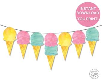 Ice Cream Party Decor, Printable Ice Cream Birthday Decorations, Ice Cream Banner, Ice Cream Garland, Ice Cream Printables INSTANT DOWNLOAD