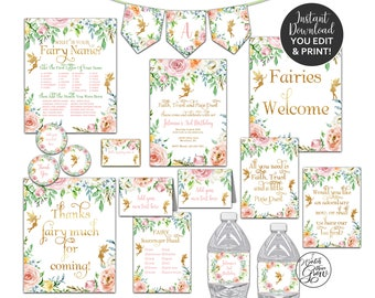 Fairy Party Package, Fairy Printables, Fairy Birthday Party Decor, Fairy Invitations, Printable Fairy Party, Pixie Faerie INSTANT DOWNLOAD