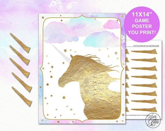 image about Pin the Horn on the Unicorn Printable identify Pin the Horn upon the Unicorn Get together Recreation, Printable 11x14 Inch