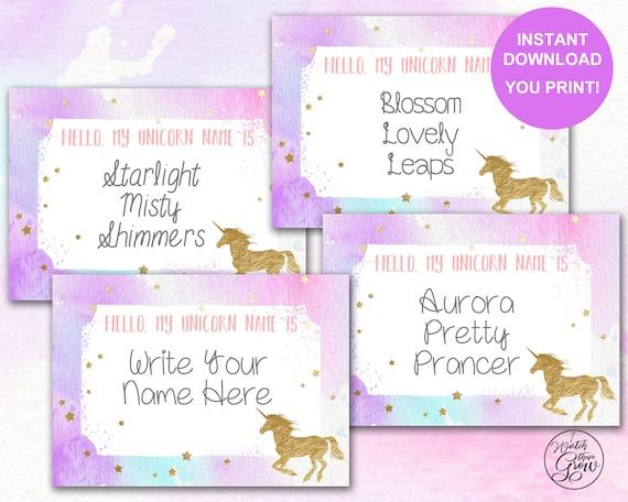 Unicorn Name Tags, Printable Unicorn Name Stickers, Unicorn Name Labels,  Unicorn Party Birthday Baby Shower, Unicorn Game INSTANT DOWNLOAD