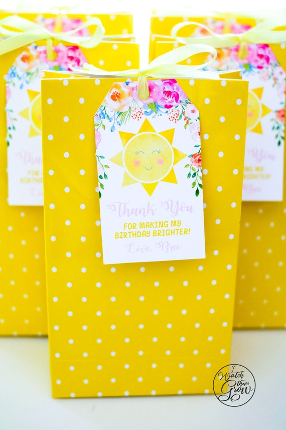 Sunshine Party Favor Tags Editable And Printable Loot Bag Labels Goodie Gift Thank You