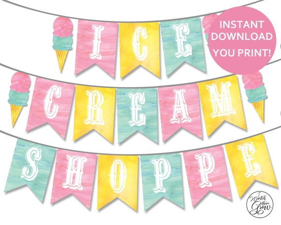 X 2 PERSONALISED ICE CREAM PARTY BIRTHDAY PHOTO BANNERS WALL DECORATIONS ANY AGE