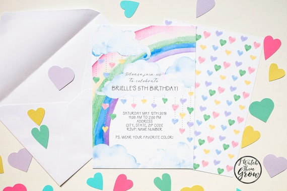 Pastel Rainbow Party Invitation Printable Editable Birthday Invites Baby Shower Invite 5x7 Inch PDF INSTANT DOWNLOAD