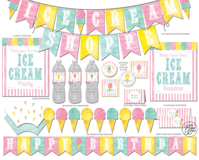 Ice Cream Party Printables Package Ice Cream Party image 0