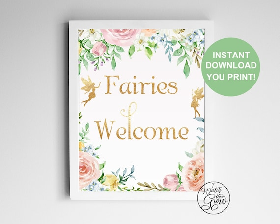 Fairies Welcome Party Sign, Printable Fairy Birthday Party Poster