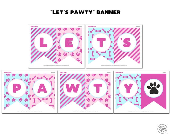Let/'s Pawty Banner Birthday Banner Party Banner Let/'s Party Banner. Puppy Party Banner Pup Party Banner Pup Patrol Banner