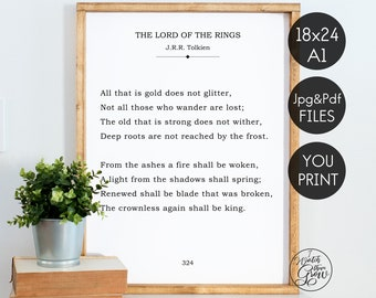 """Tolkien Book Page Wall Art, """"All That Is Gold"""" Tolkien Quote Sign, LOtR Printable Literature Print, DIY Book Page Sign INSTANT DOWNLOAD"""