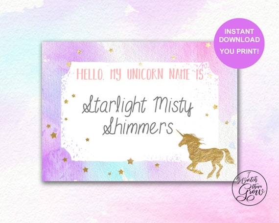 unicorn name tags printable unicorn name stickers. Black Bedroom Furniture Sets. Home Design Ideas