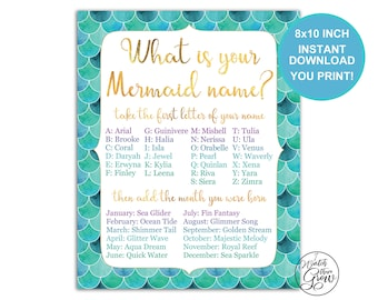 """Mermaid Party Game, Printable """"What's Your Mermaid Name"""" Game, Mermaid Birthday Party, Baby Shower, Mermaid Name Sign 8x10 INSTANT DOWNLOAD"""