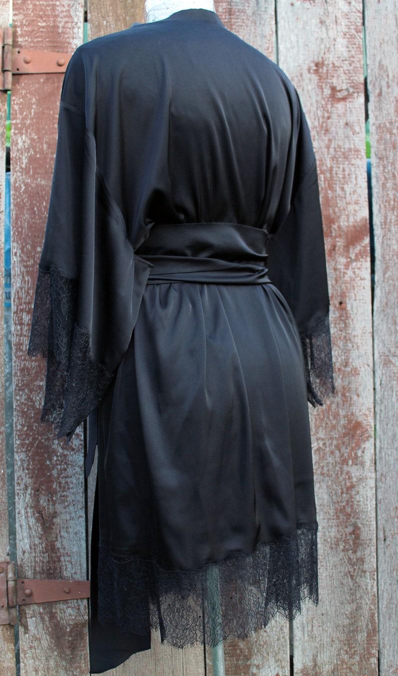 homewear peignoir blACK original gift Kimono BLACK Lingerie Pajamas Bathrobe Robe Lace lingerie for brides underwear present for women
