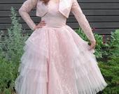 1950s pink prom dress 1950s pale pink formal dress vintage dress