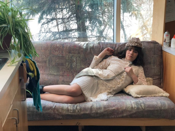 1960s cream lace dress/ 1960s Junior Vogue dress/