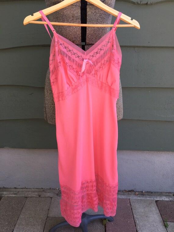 1950s hot pink slip/ 1950s 'Duchess' full-length s