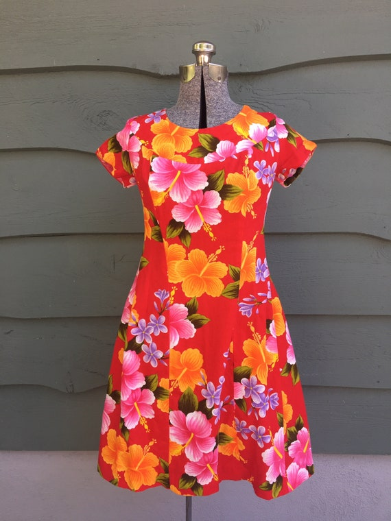1950s Hawaiian Ui-Maikai cotton dress/ 1950s red H