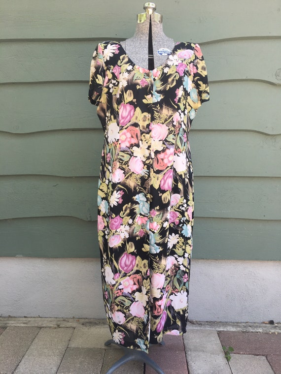 1990s muted floral dress/ 1990s button down floral