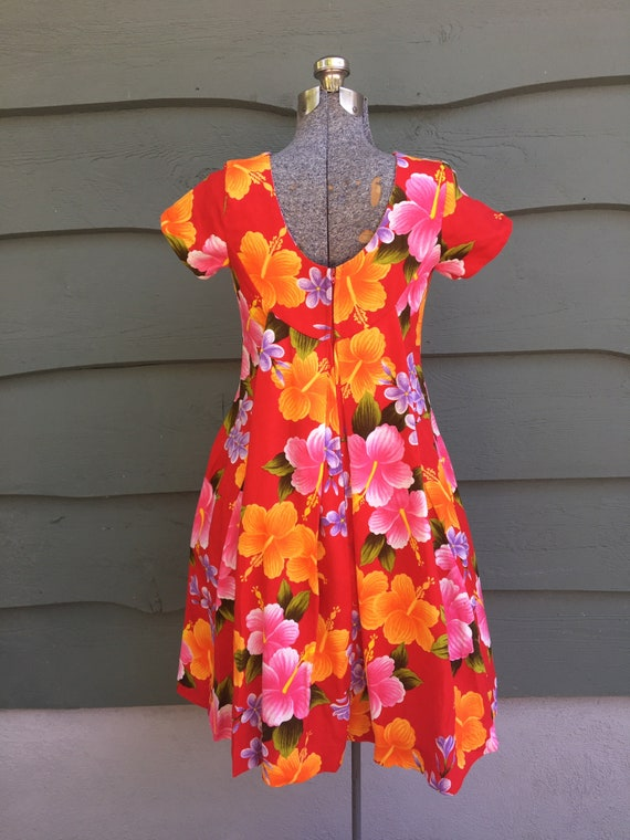 1950s Hawaiian Ui-Maikai cotton dress/ 1950s red … - image 4