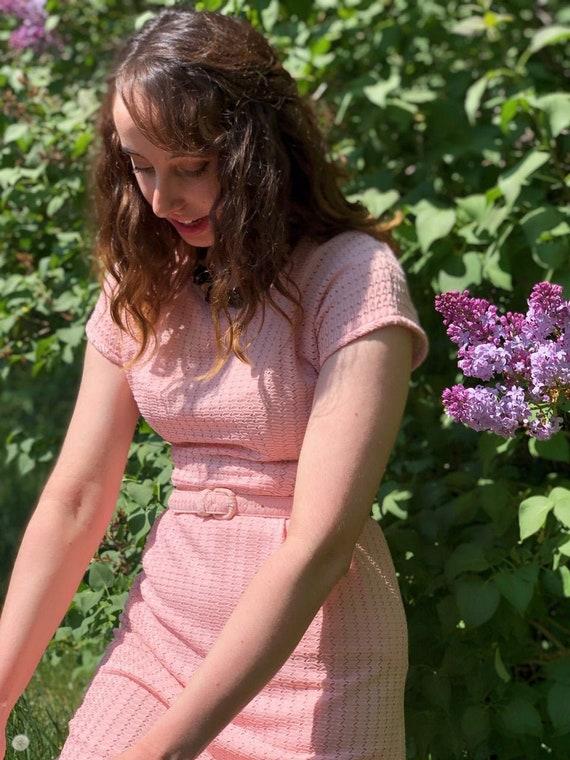1980s pink zig zag dress/ 1980s short sleeve dress