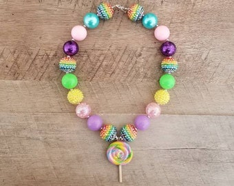 Lollipop Chunky Necklace, Rainbow Necklace, First Birthday, Bubblegum Bead Necklace, Chunky Beads, Baby Bubblegum Necklace