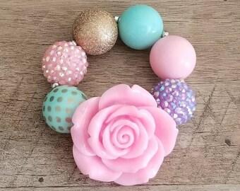 Unicorn Chunky Bracelet, Mint  Pink Purple Chunky Bracelet, Baby Bracelet, Unicorn Chunky Necklace, Unicorn Birthday, Cake Smash Bracelet