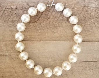 Ivory Chunky Necklace, Bubblegum Bead Necklace, Chunky Beads, Baby Bubblegum Necklace, Pearl Necklace, Ivory Pearl Chunky Necklace