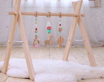 Wooden baby gym frame White Deluxe Scandinavian play gym arch Montessori toys