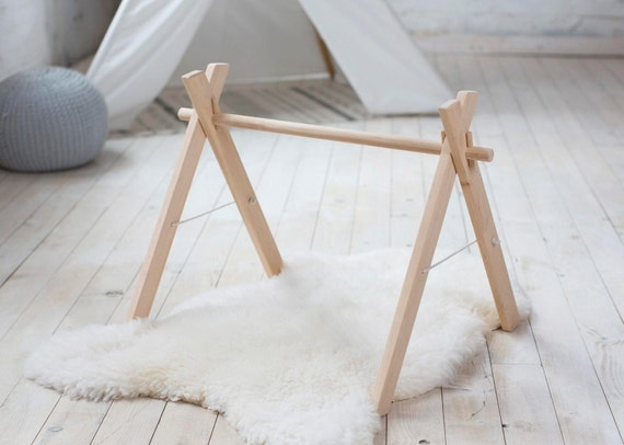 Wooden baby gym frame foldable play gym activity gym gender