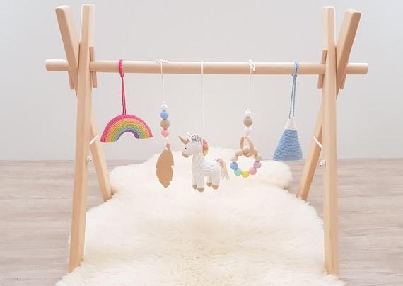 image 0 Rainbow Unicorn Baby play gym with 5 toys. | Etsy
