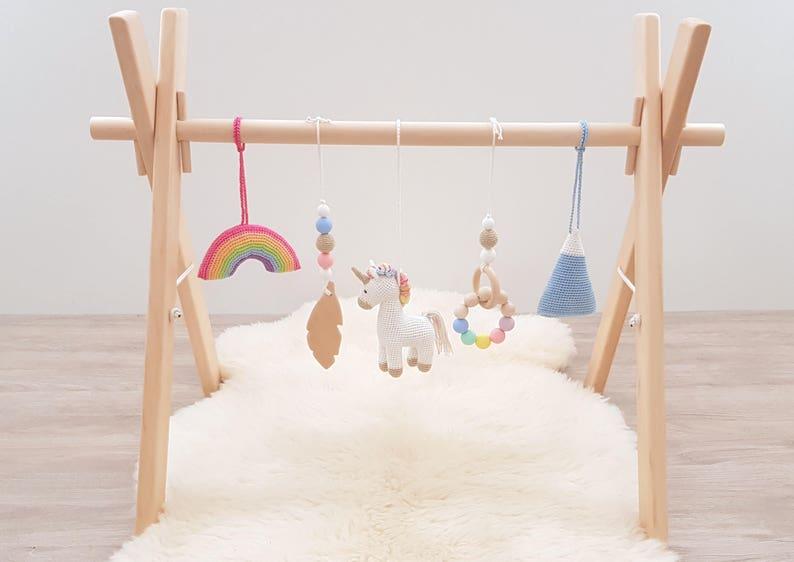 c94f72523264 Rainbow Unicorn Baby play gym with 5 toys. Unicorn Rainbow