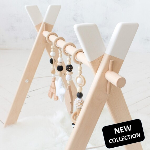 Baby Shower Gift Travel Activity center mobile ring Boho Desert Set of 3: llama Play Gym Accessory Black and white feather Monochrome baby gym mobiles