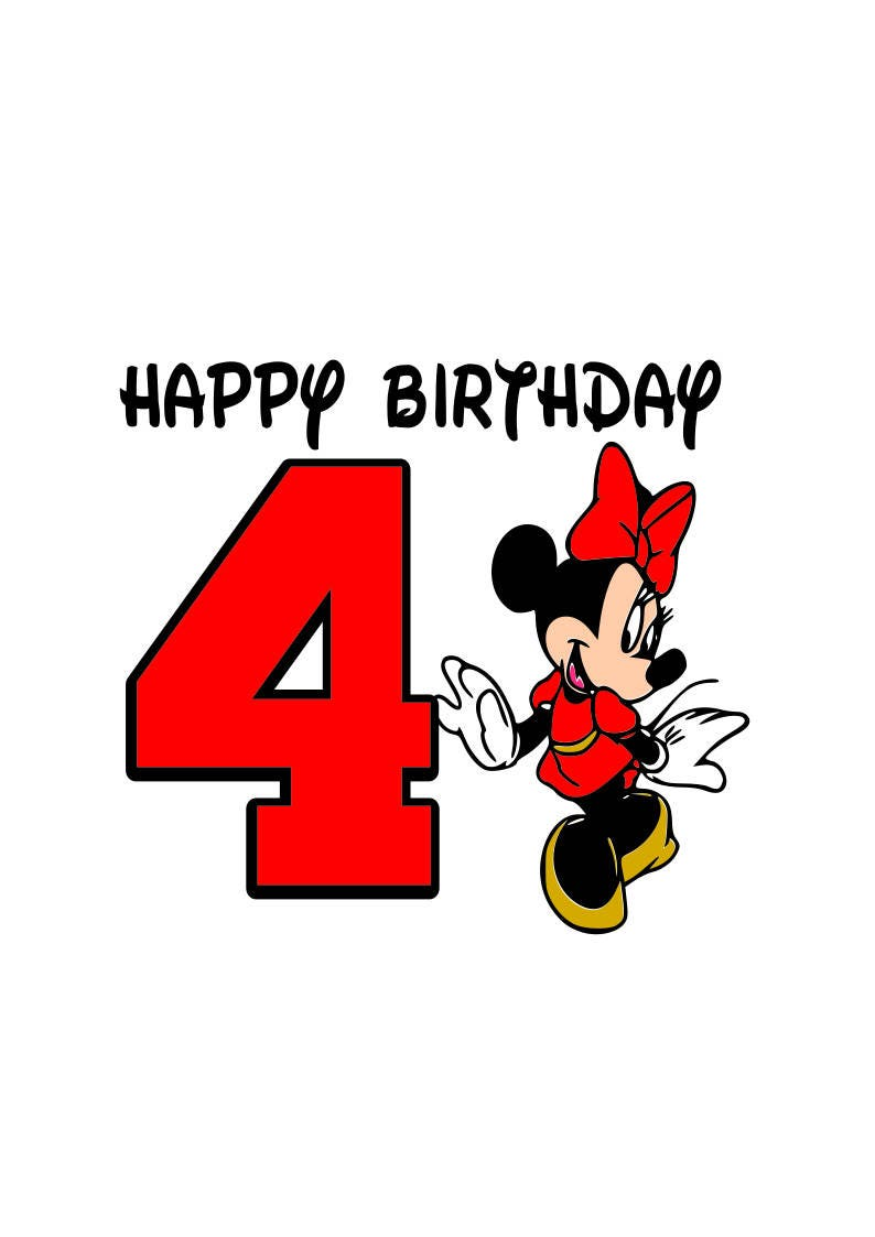Minnie Mouse Buon Compleanno Svg Felice Compleanno 4 Anni Etsy