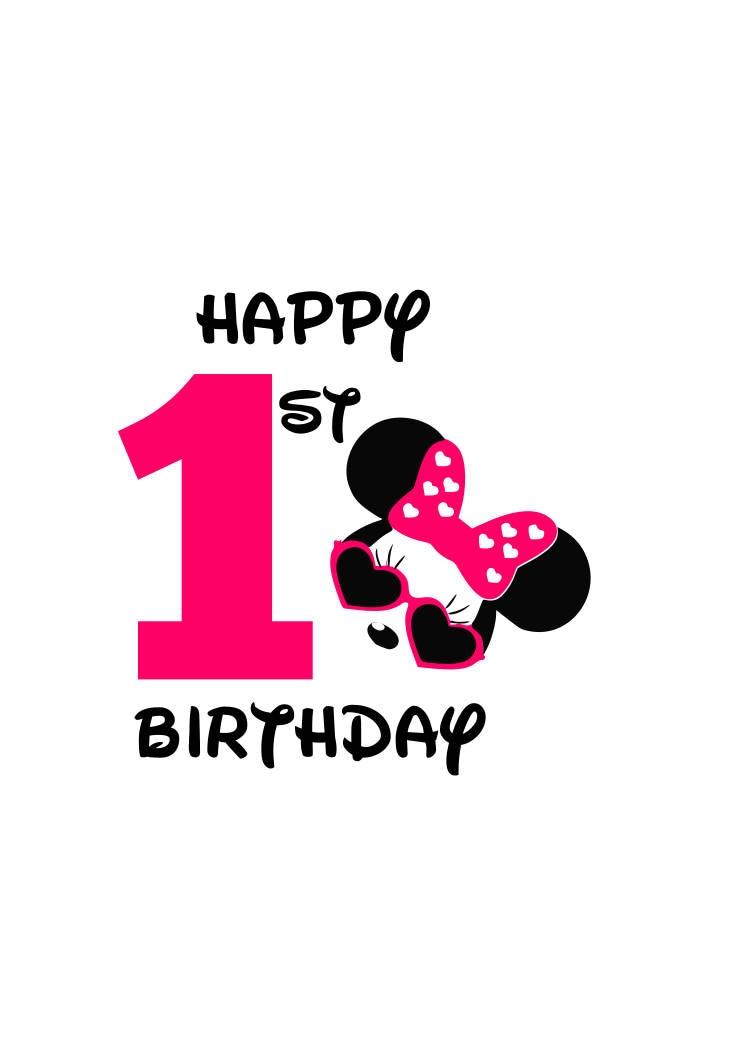 Minnie Maus glücklich 1. Geburtstag-Mädchen-Svg-Datei Minnie | Etsy