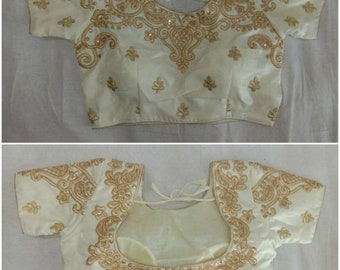 090659465768b Embellished White Readymade Saree Choli Stitched Girls Top Wedding Wear  Banglori Silk Embroidery Sari Blouse Party Wear Tunic for Women
