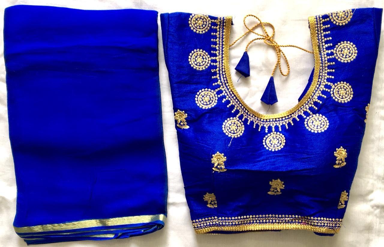 X-mas spécial porter bleu indien parti porter spécial solide Saree avec prêt fait fleuri cousu Blouse Choli fille Top mariage Sari tunique broderie des femmes 007851