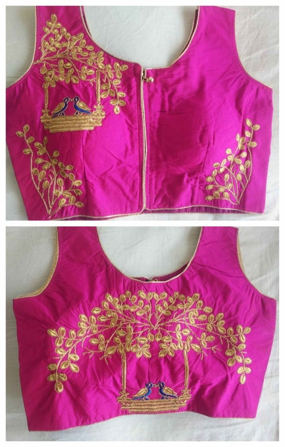 aa69ace2363fb6 X-MAS Special Art Silk New Pink Readymade Blouse Designer