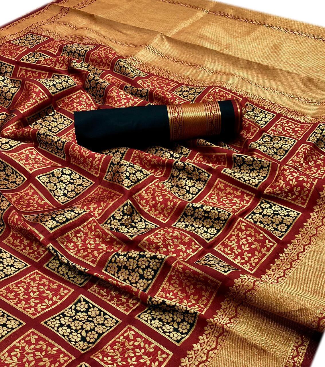 X-mas spécial rouge mariage porter femmes Floral motif Art Art motif soie tissage Saree indien contraste Pallu et contraste correspondant chemisier Sari 954630