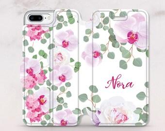 Monogram iPhone Case iPhone X Wallet Case Flowers Custom Case iPhone 8 Case iPhone Wallet Case Protective Case iPhone 7 Plus Case RD5064